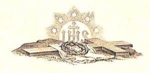 Den Gottmenschen Christus den Gekreuzigten predgen: Ein Kreuz auf dem Boden liegend, ein Tuch und eine Dornenkrone liegen darauf, dahinter ist das Zeichen IHS von Strahlen und Sternen umrankt
