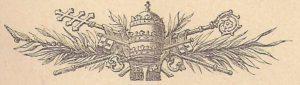 Zu sehen ist die Tiara des Papstes, Bischofsstab, Schlüssel und Palmzweige sind hinter der Tiara des Papstes kreuzweise angeordnet