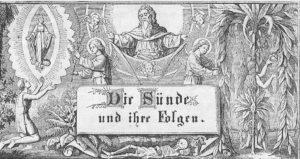 Gottvater, ein Engel mit dem Flammenschwert zu Eva gewandt, ein anderer Engel mit einem Zweig zu Maria gewandt