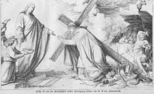 Der Papst trägt das Kreuz Christi, von seinen Feinden mit Steinen beworfen, von Christus glorreich empfangen; es zeigt das Leiden der Päpste und zugleich der Kirche