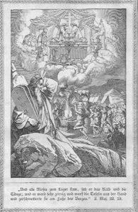 Während Moses auf dem berg Sinai die Gesetzestafeln in Händen hält, sieht er unten das Volk Israel im Götzendienst um das goldene Kalb tanzen; im Himmel, von Wolken eingehüllt, sieht man zwei Engel in Anbetung, das Kreuz hinter ihnen; der Priester schwenkt das Weihrauchfass